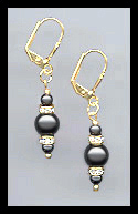 Simple Black Crystal Pearl Earrings