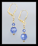 Tiny Gold Sapphire Blue Crystal Earrings