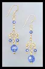 Gold Filigree and Sapphire Blue Crystal Earrings