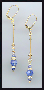 Gold Sapphire Blue Crystal Rondelle Earrings