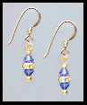 Mini Gold Sapphire Blue Crystal Rondelle Earrings