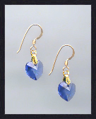 Tiny Gold Sapphire Blue Crystal Heart Earrings