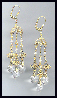 Filigree Clear Crystal Heart Earrings