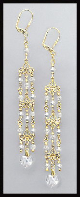 Clear Crystal Heart Chandelier Earrings