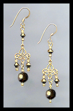 Gold Filigree and Dorado Gold Crystal Earrings