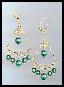 Emerald Green Crystal Earrings