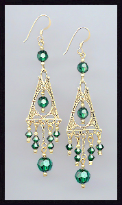 Emerald Green Deco Earrings