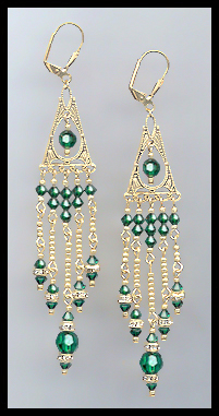 Emerald Green Crystal Chandelier Earrings