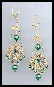 Swarovski Emerald Green Chandelier Earrings