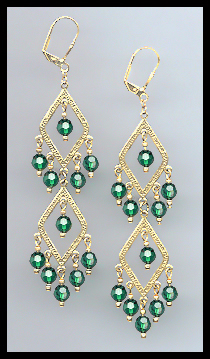 Swarovski Emerald Green Crystal Earrings