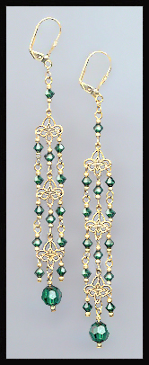 "4"" Emerald Green Chandelier Earrings"