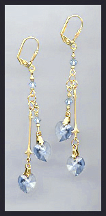 Gold Light Blue Double Crystal Heart Earrings