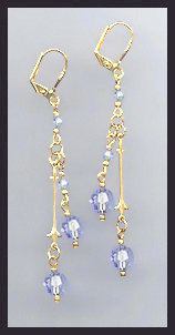 Gold Light Blue Crystal Drop Earrings