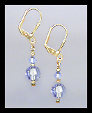 Tiny Gold Light Blue Crystal Earrings