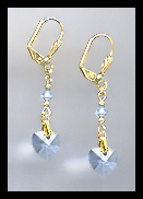 Gold Light Blue Crystal Heart Earrings