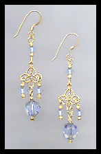 Gold Filigree and Light Blue Crystal Earrings