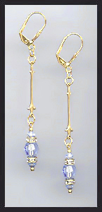 Gold Light Blue Crystal Rondelle Earrings