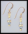 Mini Gold Light Blue Crystal Rondelle Earrings