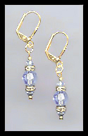 Gold Light Blue Swarovski Rondelle Earrings