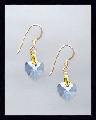 Tiny Gold Light Blue Crystal Heart Earrings