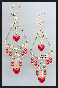 Swarovski Cherry Red Crystal Heart Earrings