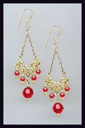 Vintage Style Cherry Red Earrings