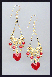 Cherry Red Crystal Heart Earrings