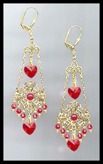 Swarovski Cherry Red Heart Filigree Earrings