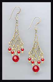 Cherry Red Vintage Style Earrings