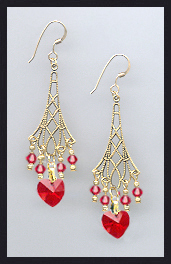 Cherry Red Heart Earrings