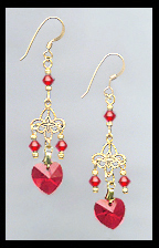 Tiny Cherry Red Heart Earrings
