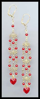 Cherry Red Crystal Heart Chandelier Earrings