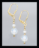Tiny Gold Opal White Crystal Earrings