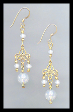 Gold Filigree and Opal White Crystal Earrings