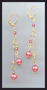 Gold Coral Peach Crystal Drop Earrings