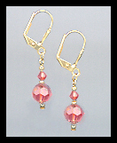 Tiny Gold Coral Crystal Earrings