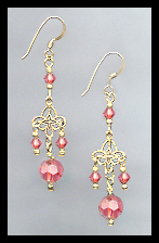 Gold Filigree and Coral Crystal Earrings