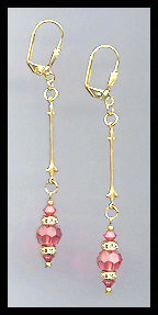 Gold Coral Crystal Rondelle Earrings