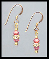 Mini Gold Coral Crystal Rondelle Earrings