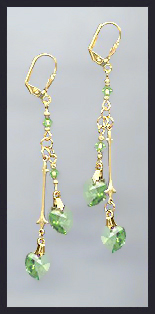 Gold Peridot Green Double Crystal Heart Earrings