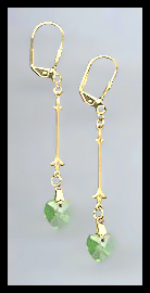 Gold Peridot Green Swarovski Crystal Heart Earrings