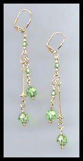 Gold Peridot Green Crystal Drop Earrings