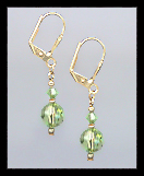 Tiny Gold Peridot Green Crystal Earrings