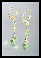 Gold Peridot Green Crystal Heart Earrings