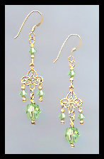 Gold Filigree and Peridot Green Crystal Earrings