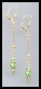 Gold Peridot Green Crystal Rondelle Earrings