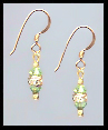 Mini Gold Peridot Green Crystal Rondelle Earrings