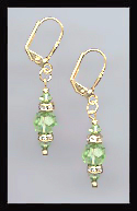Gold Peridot Green Swarovski Rondelle Earrings
