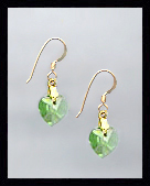 Tiny Gold Peridot Green Crystal Heart Earrings