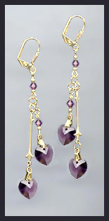 Gold Amethyst Purple Double Crystal Heart Earrings